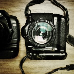 My first Canon EOS 1 and my current 5D MK2